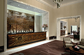 Reception and concierge desks at The Langham Hotel, Portland Place, London.