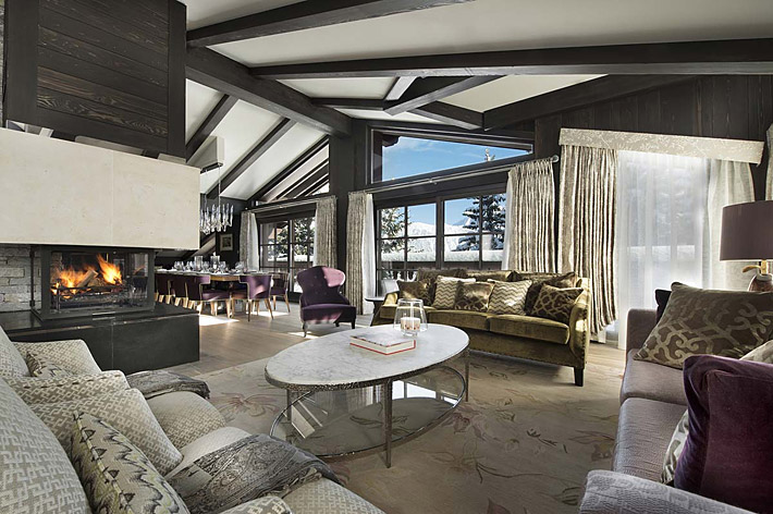 Chalet Le Coquelicot located in the prestigious ski resort of Courchevel 1850, France.  Interior by Wilkinson Beven.