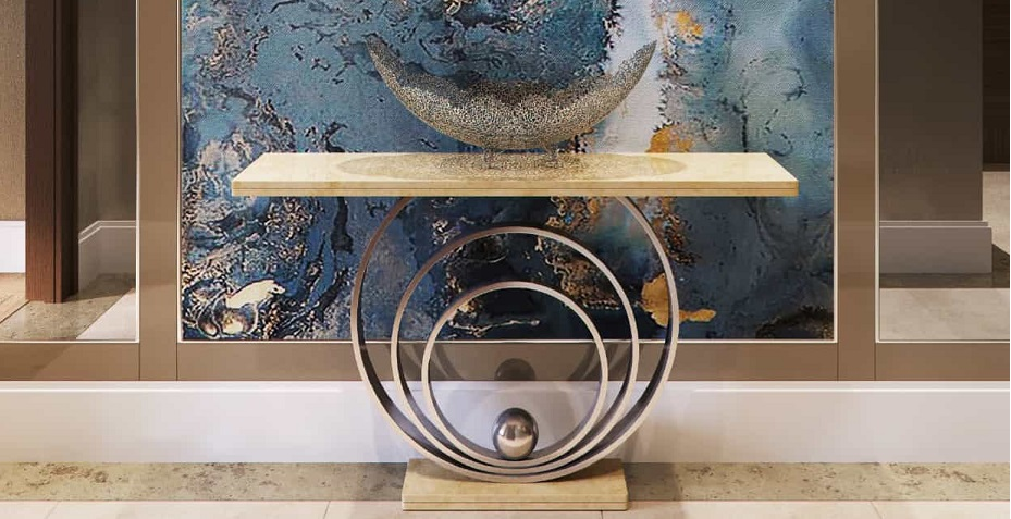 Ammonite console table in mirror polished stainless steel