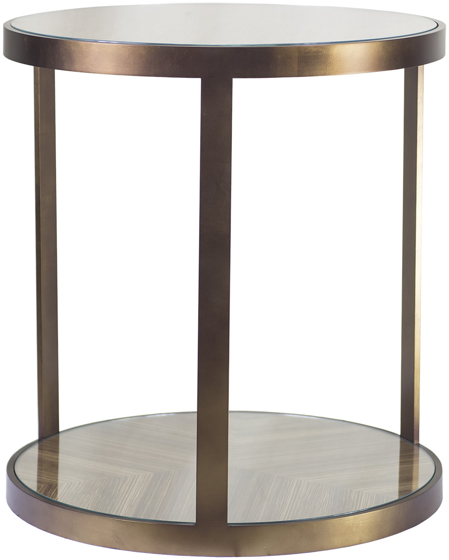 Antique bronze gilded metal finish with american black walnut inset top and lower shelf 550mm dia x 650mm h available in polished stainless steel