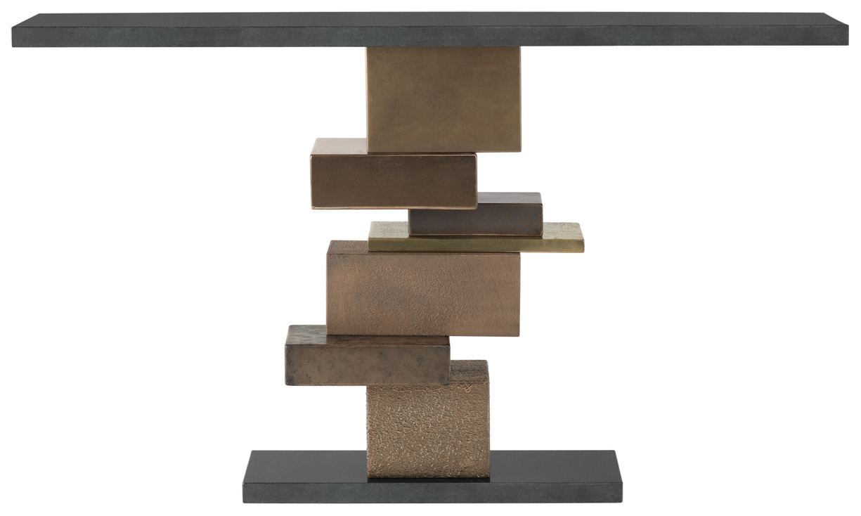 Bronze And Brass Metallic Liquid Metal Blocks With Nero Assoluto Granite Top  And Plinth