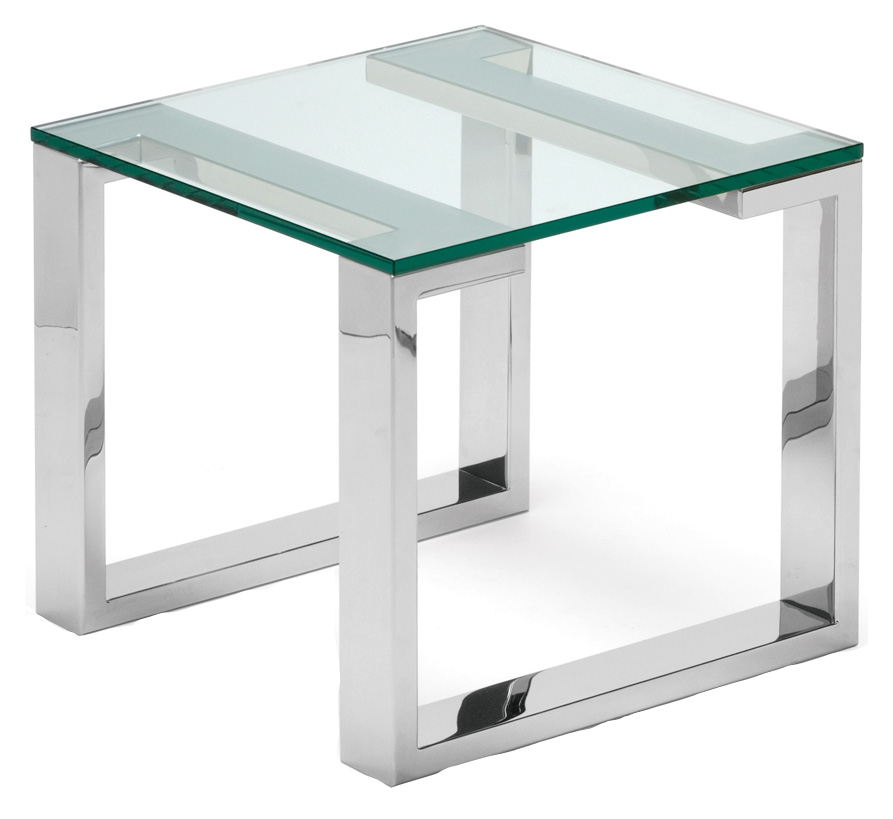 Polished Stainless Steel With Glass Top. 550mm X 550mm X 500mm H.