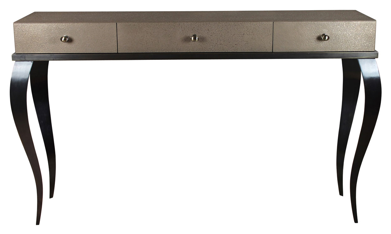 Bronzed Brass Finish With Textured And Flattened Brass Resin 3 Drawer Unit.