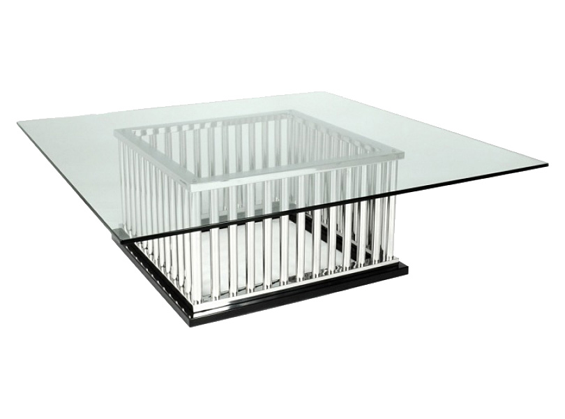 polished stainless steel with clear glass top 1200mm x 1200mm x 420mm h