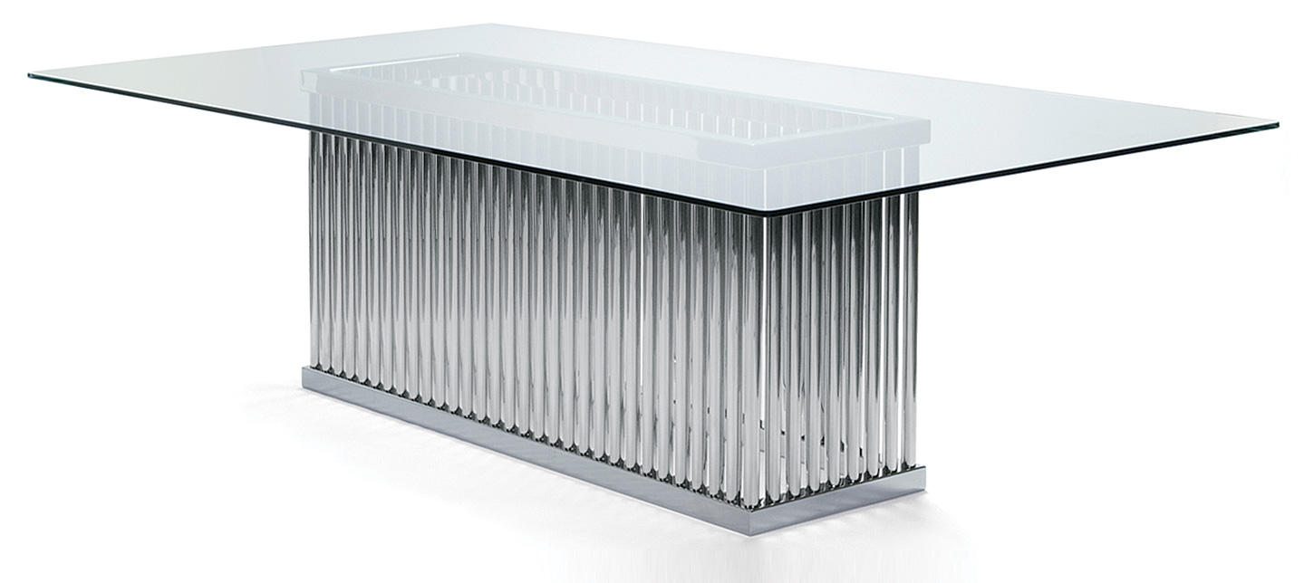 Stainless steel dining table - Polished Stainless Steel With Glass Top 2400mm X 1300mm X 750mm H