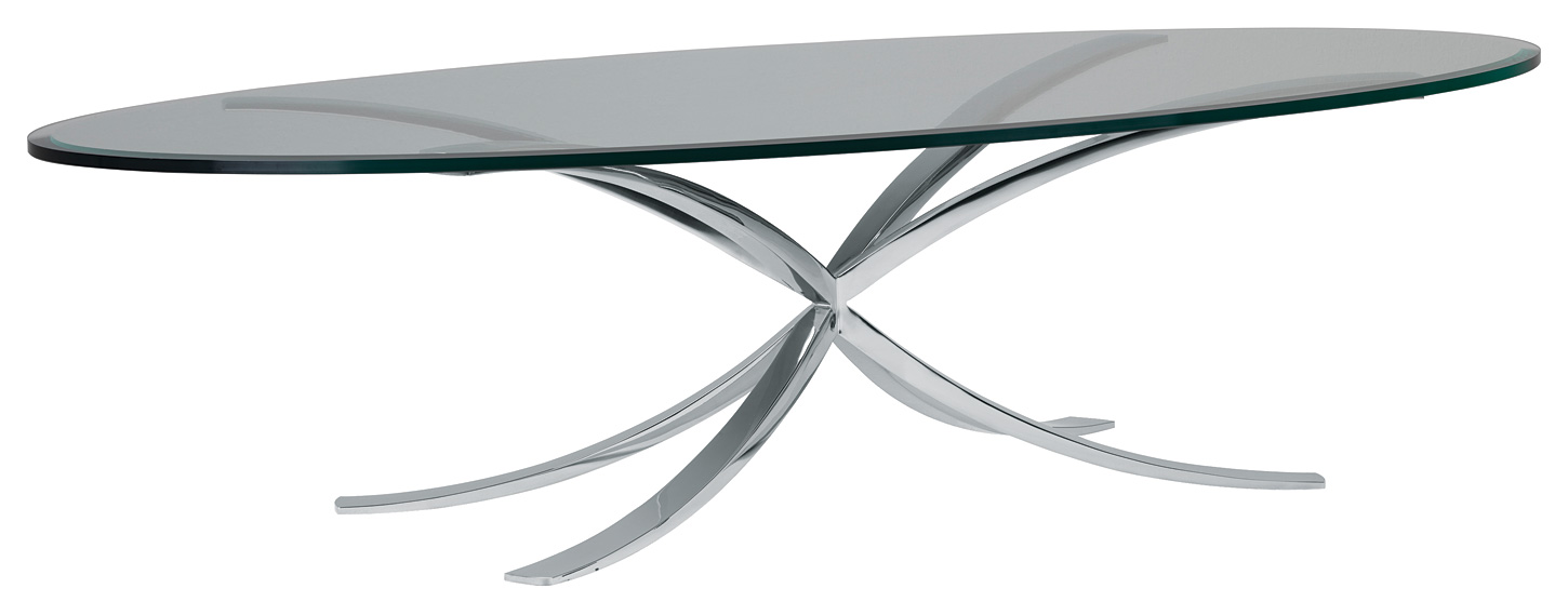 Exceptional Polished Stainless Steel With Bevelled Oval Glass Top 1700mm X 800mm X  420mm H