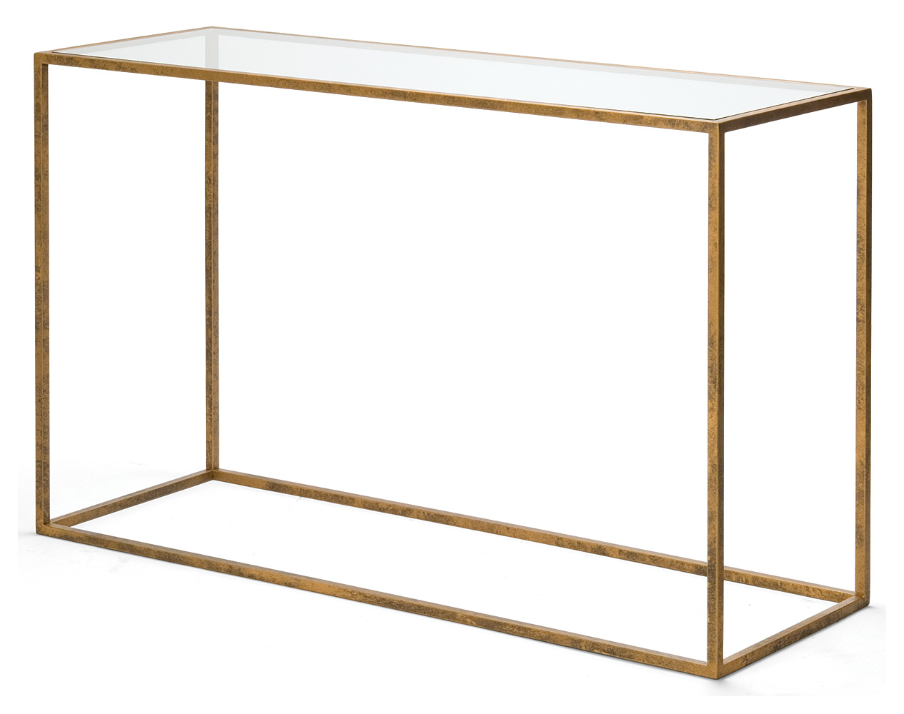 Upton console table console tables furniture decorus furniture medium floretine gold with clear glass top 1100mm x 300mm x 850mm h 1600mm x 300mm x 850mm h geotapseo Choice Image